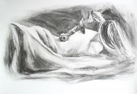 femenino dibujo arte de lápiz blanco y negro desnudo femenino