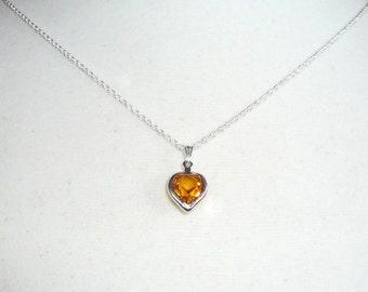 Tiny  Heart Necklace, November birthstone, topaz Swarovski crystal