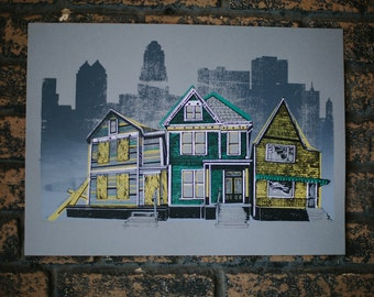 Hand Screenprinted Houses Print