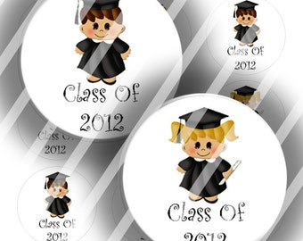 "Editable Bottle Cap Collage Sheet - Graduate Kids (215) - 1"" Digital Bottle Cap Images"