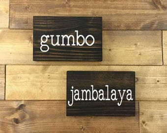 Gumbo Sign, Jambalaya Sign, Set of 2, Painted, Louisiana signs, Louisiana art, Louisiana decor, Kitchen signs, New Orleans art, Food signs