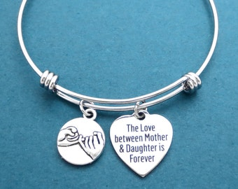 PInky, Promise, The Love between Mother & Daughter is Forever, Bangle, Bracelet, Mother, Daughter, Forever, Love, Promise, Gift, Jewelry