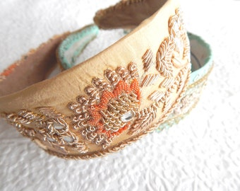 Light gold beaded embroidered fabric headbands for women, boho style,  summer hair, 1.75 inch headbands