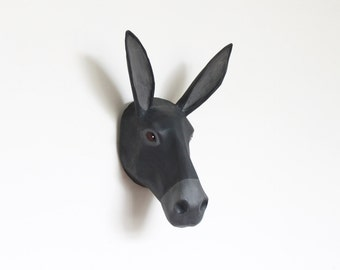 Paper mache grey Donkey wall mount head sculpture, home, interior decor