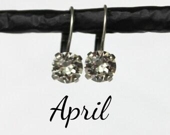 April Birthstone Drop Earrings - 8mm Classic Crystal Diamond Swarovski Crystal Earrings