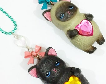 Kawaii Kitty necklace, cat lover, cat lady, cute necklace, sweet, kawaii, cute, gift for her, Siamese cat, tabby cat, ginger cat, white cat