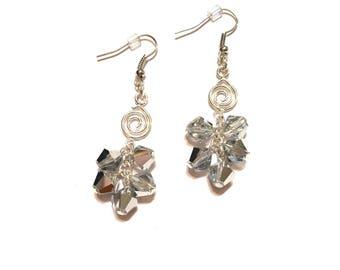Earrings. Crystal Cluster. Dangle. Silver.