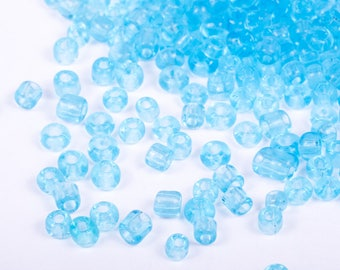 10g of sky blue 3mm seed beads
