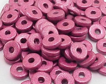 Greek Ceramic 8mm Disk Beads 16023 Dark Violet Purple Disc Bead, Narrow Beads, Spacer Beads, Large Hole Beads, Big Hole Beads, Ceramic Beads