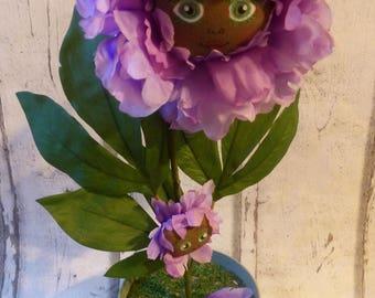 Lavende et son bébé poupée de chiffon fleur (rag doll, handmade doll, ooak doll, art doll)