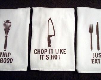 Flour Sack Kitchen Towels, 3 Piece Kitchen Sayings