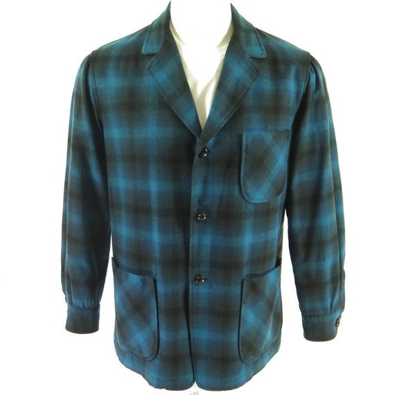 Vintage 60s Pendleton 1 Knot Leather Made USA 2 Shadow Plaid Wool M Jacket H90R Mens rwrSq5dH