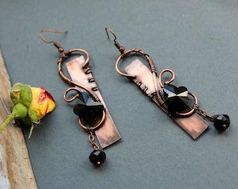 Copper earrings Copper wire earrings Handmade