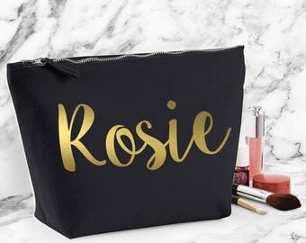 Personalised Make Up Bag Pouch Girl Women Travel Custom Your Name Gold Printed Gift For Her Stocking Filler Cute Teen Lady Personalized L123