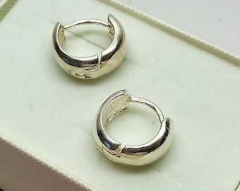 Hoop Earrings Silver 925 Elegant plain SO180