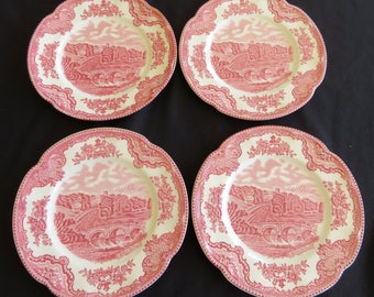 FOUR (4) Red Transferware Side Plates, JOHNSON BROS, Old Britain Castles, Serving Bridal Staffordshire