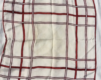 Vintage Window pane pattern scarf red white and blue