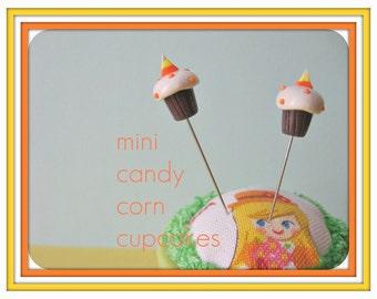 Mini Candy Corn Cupcake Pin Topper