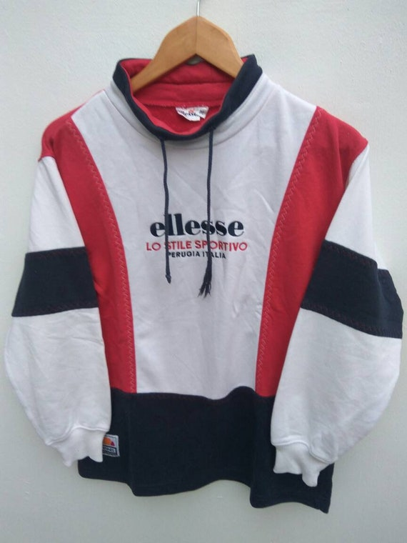 Vintage ELLESSE Perugia Italy Big Logo Spell Out Multicolored Gray Sweatshirt L WnFatLK