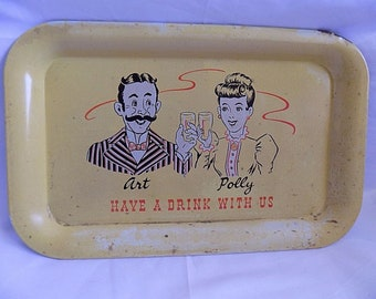 RARE Vintage Jiggs Art and PollyHave a drink with us Advertising FAST SHIPPING