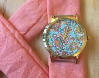 Fabric - coral pattern clock
