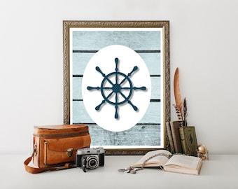 Ships Wheel Printable, Ships Wheel Decor, Nautical Decor, Beach, Nautical Printable, Beach Printable, Beach Sign, Beach Decor 0028