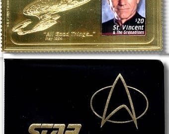 Lot of 5 - 1994 Star Trek: Next Generation Gold Postage Stamp Wallet Sets All numbered with COA JeanLuc Picard Patrick Stewart  23kt Gold St
