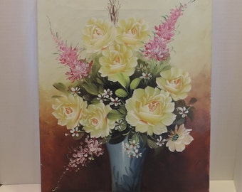 Oil On Canvas Painting Still Life Floral Yellow Floral Pinting  Picture signed Oil Painting Vintage Oil Painting Yellow Pink Floral Painting