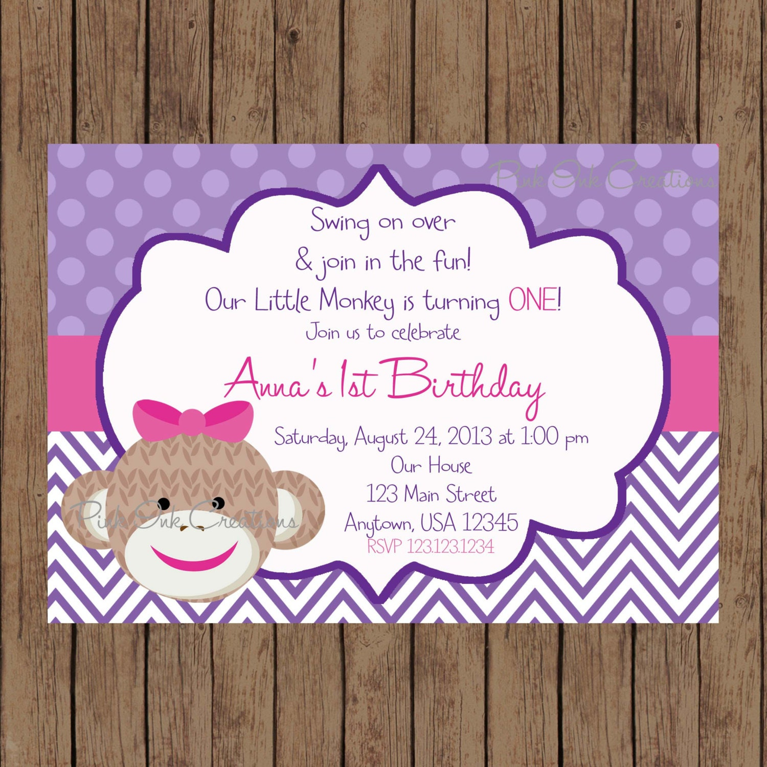 Purple Sock Monkey Invitation / Purple Sock Monkey Birthday /