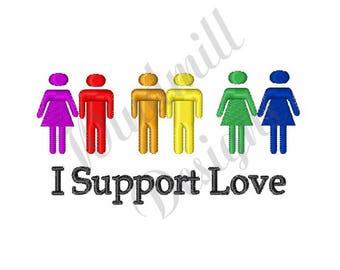 Rainbow I Support Love - Machine Embroidery Design