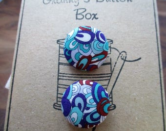 "hand made Liberty ""rave"" buttons - set of two 19mm.  knitter, crafter, fashion, gift for her"