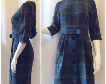 Plaid 100%Wool 1960s Dress w/ Belt