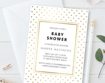 White and Gold Baby Shower Invitation Template Gold Polka Dot Baby Shower Invite Neutral Baby Shower Invitation Gold Invitation Card PDF GD1