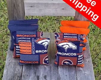 "FREE SHIPPING! Denver Broncos set of 8 corn hole bags, top notch quality: 6"" regulation size!"