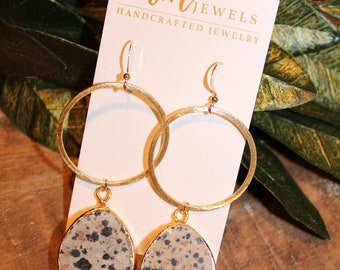 Dalmation Jasper Dangle Gold Hoop Earrings