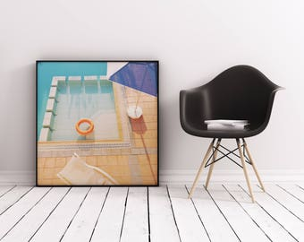 Swimming Pool Art, Abstract Photographic Print, Geometric Wall Art - Swimming Pool