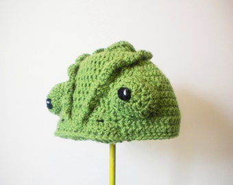 Crochet Chameleon Hat - realistic lizard crochet beanie - crochet hats for boys - crochet hats for girls - animal hats
