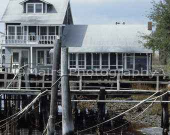 St. Mary's riverfront, Gray White Wharf Dock Building Harbor Georgia, Original Photograph, Fine Art Photography matted & signed 5x7 print