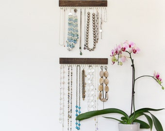 brass and brown wood jewelry display racks - necklace and earring
