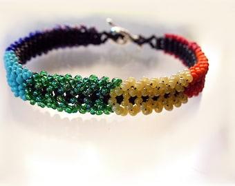 Rainbow Beaded Bracelet, Chakra Colors Bracelet, Peyote Jewelry  B2014-09