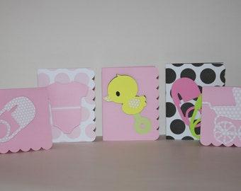 Set of 5 Handmade Baby Girl Cards