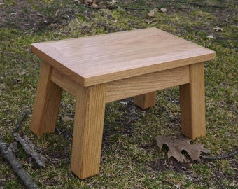 """Reclaimed wood/ riser/ stool/ classic/ solid oak/ beveled edge/ stained/ 8"""" - 10"""" H"""