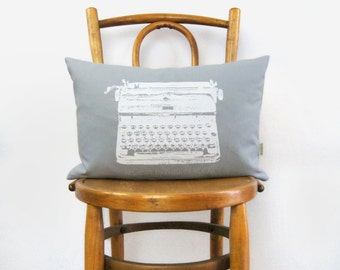 Vintage typewriter pillow case in 4 sizes | Grey and white decorative throw pillow cushion cover | Modern home decor, Industrial Accent