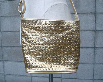 Studded Leather Purse Vintage 1980s Gold Studs Gems Jeweled
