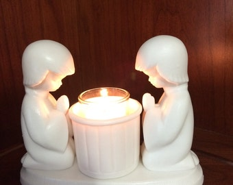 Praying children votive candle holder