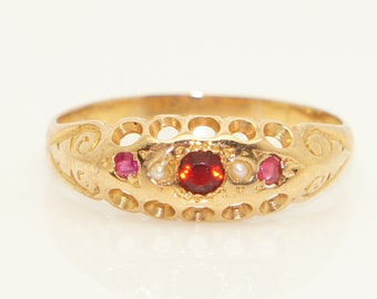 Antique Victorian 18ct Gold Garnet, Ruby & Seed Pearl Ring, Size M