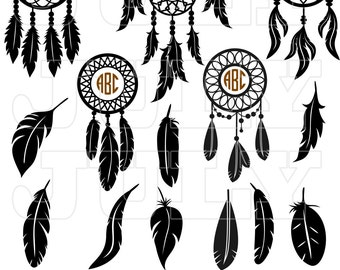 Dream Catcher Svg Monogram, Feather svg, Indian svg, Dreamcatcher Clipart, Dreamcatcher svg,  Feather Silhouette, Native American svg