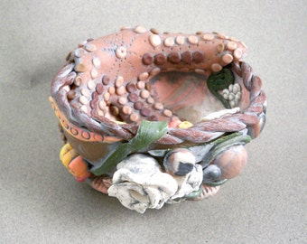 Sea life art vessel unique starfish and sea creature small bowl polymer clay