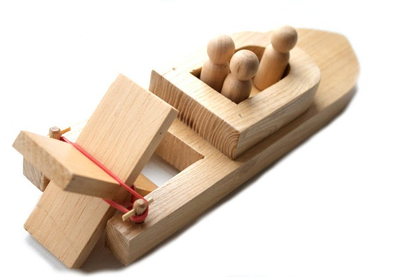 Baby Peg Toys : Wooden toy boat with peg people kids wood bath organic