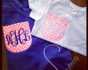 Children's Pocket Tee Initials Monogram Chevron & Polka Dot Embroidered Applique - Shirt 100% Cotton - MADE TO ORDER